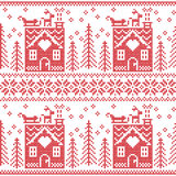Scandinavian Nordic Christmas seamless  pattern with gingerbread house, snow, reindeer, Santa's  sleigh, trees, star, snow, Xmas g. Ift, snowflakes in red cross Royalty Free Stock Images
