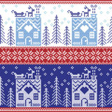 Scandinavian Nordic Christmas seamless  pattern with gingerbread house, snow, reindeer, Santa's  sleigh, trees, star, snow, Xmas g Royalty Free Stock Image
