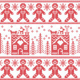 Scandinavian Nordic Christmas  seamless pattern with gingerbread man , stars, snowflakes, ginger house, trees, xmas  gifts, reinde. Er, sleigh, snow in red cross Royalty Free Stock Images