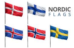 Scandinavian Nordic Flags. Scandinavian counties Nordic states flags isolated on white backgeound Stock Photography