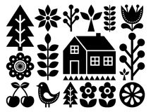 Scandinavian, Nordic folk art pattern - inpspired by Finnish art, black and white. Vector background with flowers, hourse, rural scenery - monochrome design Royalty Free Stock Photo