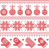 Scandinavian Nordic seamless Christmas pattern with Xmas baubles, gloves, stars, snowflakes, Xmas ornaments, snow element, hearts. In red cross stitch graphic Stock Photo