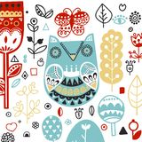 Doodle style Ornamental hand drawn owl illustration. Scandinavian, Nordic style. Ornamental hand drawn owl - illustration - doodle style. Inspired folk art stock illustration