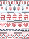 Scandinavian, Nordic style winter stitching Christmas pattern including snowflakes, hearts, Christmas present, snow, star. Christmas tree, reindeer and Royalty Free Stock Photo