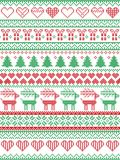 Scandinavian, Nordic style winter stitching Christmas pattern including snowflakes, hearts, Christmas gift, snow, star, reindeer. Scandinavian, Nordic style Stock Image