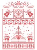 Scandinavian, Nordic style winter stitching Christmas pattern including snowflakes, hearts,present, bell, star, Christmas tree. Reindeer and decorative Royalty Free Stock Photos
