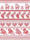 Scandinavian, Nordic style winter stitching Christmas pattern including snowflakes, hearts, Christmas present, snow, star, tree. Scandinavian, Nordic style Stock Photos