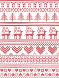 Scandinavian, Nordic style winter stitching Christmas pattern including snowflakes, hearts, Christmas present, snow, star, tree. Scandinavian, Nordic style Stock Photography