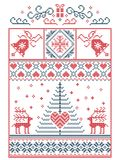 Scandinavian, Nordic style winter stitching Christmas pattern including snowflakes, hearts, Christmas present, snow, star, tree. Scandinavian, Nordic style Stock Image