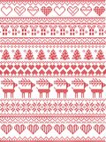Scandinavian, Nordic style winter stitching Christmas seamless pattern including snowflakes, hearts, Christmas present, snow. Scandinavian,  Nordic style winter Stock Photo