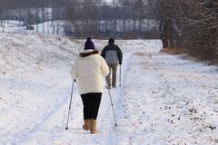 Scandinavian/nordic walking a snowshoeing on a trail in winter. A group of people enjoying snowshoeing on a track. Hike in extreme royalty free stock images