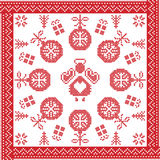 Scandinavian Nordic winter cross stitch, knitting   Christmas pattern in  square Stock Images