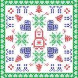 Scandinavian Nordic winter cross stitch, knitting  Christmas pattern in  square Royalty Free Stock Image