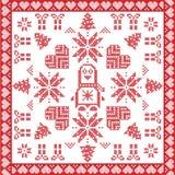Scandinavian Nordic winter cross stitch, knitting  Christmas pattern Royalty Free Stock Image