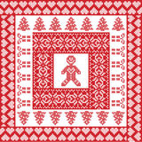 Scandinavian Nordic winter cross stitch, knitting   Christmas pattern in  square, tile  shape including snowflakes, trees,  hearts Royalty Free Stock Photography