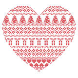 Scandinavian Nordic winter stitch, knitting  christmas pattern in  in heart shape including snowflakes, xmas trees 1 Stock Photography