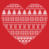 Scandinavian Nordic winter stitch, knitting  christmas pattern in  in heart shape shape including snowflakes, xmas trees Stock Images