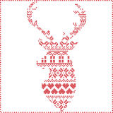 Scandinavian Nordic winter stitch, knitting  christmas pattern in  in reindeer shape shape including snowflakes, xmas trees Stock Images