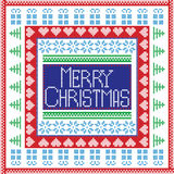 Scandinavian Nordic winter stitch, knitting  christmas pattern in  square Royalty Free Stock Images