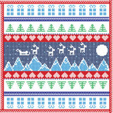 Scandinavian Nordic winter stitch, knitting  christmas pattern in  square Royalty Free Stock Photo