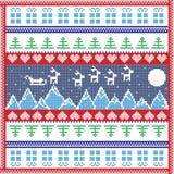 Scandinavian Nordic winter stitch, knitting  christmas pattern in  square Royalty Free Stock Photo