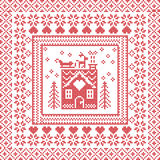 Scandinavian Nordic winter stitch, knitting  pattern in  square, tile  shape including snowflakes, trees, gingerbread houses, hear Stock Photo