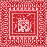 Scandinavian Nordic winter stitch, knitting  pattern in  square, tile  shape including snowflakes, trees, gingerbread houses, hear Royalty Free Stock Image