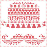Scandinavian Nordic winter stitching  knitting  christmas pattern in  hipster mustache  & hat  shape including snowflakes, hearts,. Trees christmas presents Stock Images