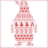Scandinavian Nordic winter stitching  knitting  christmas pattern with penguin shape including snowflakes, hearts, trees christmas Stock Photos