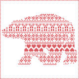 Scandinavian Nordic winter stitching  knitting  christmas pattern in  in polar bear   shape  including snowflakes, hearts 2. Scandinavian Nordic winter stitching Stock Photography