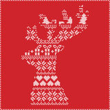 Scandinavian Nordic winter stitching , knitting  christmas pattern in  in reindeer shape shape including snowflakes, hearts,  xmas. Trees, christmas presents Royalty Free Stock Photos