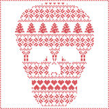 Scandinavian Nordic winter stitching  knitting  christmas pattern in  in sugar skull  shape including snowflakes, hearts xmas tree. S christmas presents, snow Stock Photo