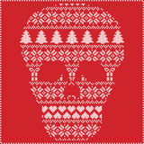 Scandinavian Nordic winter stitching  knitting  christmas pattern in  in sugar skull  shape including snowflakes, hearts xmas tree. S christmas presents, snow Royalty Free Stock Images