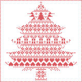 Scandinavian Nordic winter stitching knitting christmas pattern stock illustration