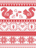 Scandinavian and Norwegian Christmas culture inspired festive winter pattern in cross stitch with squirrel, acorn, love heart stock illustration