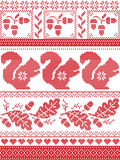 Scandinavian and Norwegian Christmas culture inspired festive winter pattern in cross stitch with squirrel, acorn, oak leaf, heart stock illustration