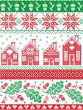 Scandinavian and Norwegian Christmas folk inspired festive autumn and winter seamless pattern in cross stitch with acorn, oak leaf Royalty Free Stock Photography