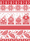 Scandinavian and Norwegian Christmas folk inspired festive autumn and winter  seamless pattern in cross stitch with acorn, oak. Leaf, gingerbread house, snow Stock Photo