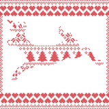 Scandinavian Norwegian style  winter stitching  knitting  christmas pattern in  in deer shape including snowflakes, hearts 2 Stock Photo