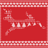 Scandinavian Norwegian style  winter stitching  knitting  christmas pattern in  in deer shape including snowflakes, hearts. Xmas trees c, snow, stars Stock Photos