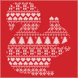 Scandinavian Norwegian style winter stitching  knitting  christmas pattern in  in squirrel  shape including snowflakes, hearts 1. Scandinavian Norwegian style Stock Photography