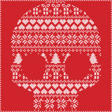 Scandinavian Norwegian style  winter stitching  knitting  christmas pattern in  in sugar skull  shape including snowflakes, hearts. Xmas trees christmas Royalty Free Stock Photo