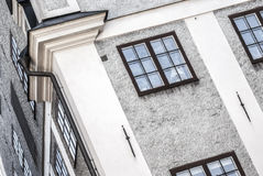 Scandinavian old citys house, diagonal view Royalty Free Stock Image