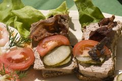 Scandinavian open type sandwiches. Pork pate open sandwich. Typical danish and scandinavian open type sandwiches on white plate. Normally eaten for lunch Royalty Free Stock Image