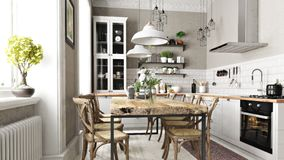 Free Scandinavian Or Country Style Kitchen With Eating Area And Simplistic Accents. Royalty Free Stock Image - 165306626