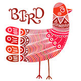 Scandinavian ornate boho style bird Royalty Free Stock Image