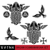 Scandinavian pagan set - God Wotan and two ravens in a circle of Norse runes. Illustration of Norse mythology. Isolated on white, vector illustration royalty free illustration