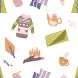 Scandinavian pattern with different elements. Seamless pattern in scandinavian style with different elements Royalty Free Stock Photos