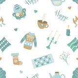 Scandinavian pattern with different elements. Seamless pattern in scandinavian style with different elements Royalty Free Stock Photo