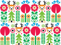 Scandinavian pattern, seamless folk art pattern, children background Royalty Free Stock Photos